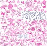 Frühlingsgekritzel eingestellt Stockfotos