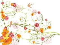 Frühlingsgelbe Blumenstrudel und -schwalben vektor abbildung