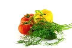 Frühlingsgemüse für Salat auf einem weißen Hintergrund Lizenzfreie Stockfotografie