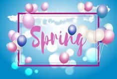 Frühlingsgrußkarte mit Ballonen, ein Zeichen auf einem Hintergrund des blauen Himmels vektor abbildung