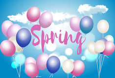 Frühlingsgrußkarte mit Ballonen, ein Zeichen auf einem Hintergrund des blauen Himmels lizenzfreie abbildung