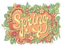 Frühlingshandbeschriftung Kalligraphische mit Blumenfahne des Vektors Stockbild