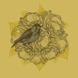 Frühlingshintergrund mit Blumen und Vögeln, Handzeichnung Vektor I stock abbildung