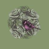 Frühlingshintergrund mit Blumen und Vogelmeise, Handzeichnung vektor abbildung
