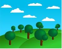 Frühlingshintergrund mit Hügeln und Bäumen Stockfotos