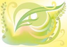 Frühlingshintergrund mit Rotationen und Blättern Lizenzfreies Stockfoto