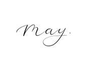 Frühlingskalligraphie - Mai Handgeschriebene Aufschrift des Vektors Stockfoto