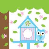 Frühlingskarte mit nettem Eulen- und Vogelhaus Stockbild