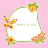 Frühlingskarte mit nettem Schmetterlings- und Blumenrahmen Lizenzfreies Stockbild
