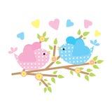 Frühlingskarte mit netten Vögeln auf Blumenniederlassung Stockfoto
