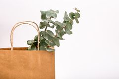 Frühlingskonzept Hintergrund der Einkaufstasche braunen Papiers Kraftpapiers weißes Stockfoto