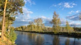 Frühlingslandschaft in dem Ural-Fluss mit Birke, Russland Lizenzfreies Stockbild