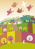 Frühlingslandschaft mit dem Vogelfliegen Stockfotos