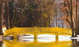 Frühlingslandschaft mit gelber Brücke über einem See Stockbilder