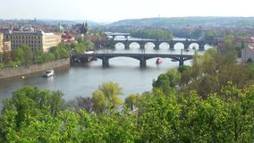 Frühlingslandschaft mit Prag-Brücken Prag, Tschechische Republik stock video footage