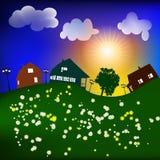 Frühlingslandschaft mit Sun-Häusern, Vektor Stockbilder