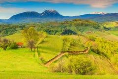 Frühlingslandschaft und ländliches Dorf, Holbav, Siebenbürgen, Rumänien, Europa Lizenzfreie Stockfotografie