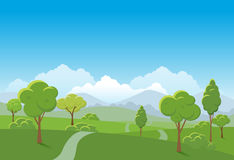 Frühlingslandschaftshintergrund Allgemeiner Park Vektorillustration Stockfotos