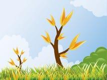 Frühlingslandschaftwhith Baum, Wolke, Gras stockfotografie