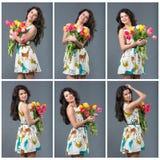 Frühlingsmädchen mit Blumen lizenzfreies stockbild
