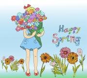 Frühlingsmädchen mit Blumen Kindervektorillustration für die Bücher grafisch Lizenzfreie Stockbilder