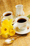 Frühlingsmorgenkaffee Stockfoto