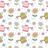 Frühlingsmuster mit Blumen und Gießkannen lizenzfreie abbildung