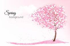 Frühlingsnaturhintergrund mit einem rosa blühenden Kirschblüte-Baum lizenzfreie abbildung