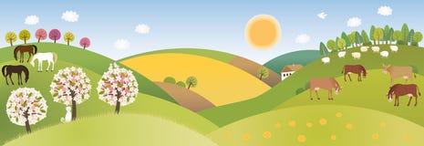 Frühlingspanorama lizenzfreie abbildung