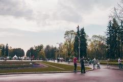 Frühlingspark mit Leuten und dem Blühen blüht lizenzfreies stockfoto