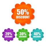 20, 30, 40, Frühlingsrabatt mit 50 Prozentsätzen in vier Farben blühen Lizenzfreies Stockbild