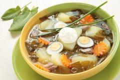 Frühlingssuppe mit Sauerampfer, Kartoffeln und Eiern Stockbilder