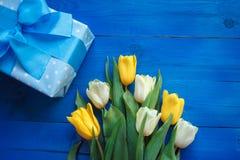 Frühlingstulpe blüht, Geschenkbox und Papierkarte auf blauem Holztisch von oben genanntem in der Ebene legen Art Lizenzfreies Stockbild