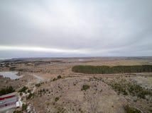 Frühlingsvegetation und Koniferenwaldvogelperspektive, Brummenansicht Stockbilder
