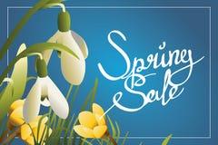 Frühlingsverkauf, der horisontal Postkarte oder Fahne beschriftet Stockbild