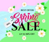 Frühlingsverkauf mit Blumen auf buntem Hintergrund Jahreszeitrabatt-Fahnenentwurf Auch im corel abgehobenen Betrag stock abbildung