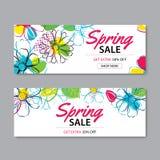 Frühlingsverkaufs-Fahnenschablone mit buntem Blumenhintergrund dose vektor abbildung