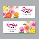 Frühlingsverkaufs-Fahnenschablone mit bunter Blume Sein kann Gebrauch vouc lizenzfreie abbildung