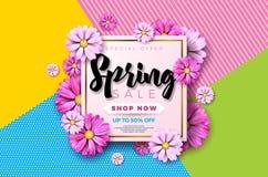 Frühlingsverkaufs-Hintergrunddesign mit schöner bunter Blume Vector Blumenmusterschablone für Kupon, Fahne, Beleg Stockfoto