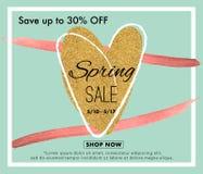 Frühlingsverkaufs-Hintergrundfahne mit einem Herzen Stockfotografie