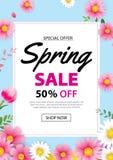 Frühlingsverkaufs-Plakatfahne mit blühender Blumenhintergrundschablone Entwurf für die Werbung, Beleg, Flieger, Broschüre, Abdeck stock abbildung