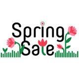 Frühlingsverkaufs- und -rabattkarikaturfahne Einkaufsaufkleber Lizenzfreie Stockfotos