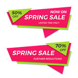 Frühlingsverkaufsaufkleber-Preisfahnenausweisschablonen-Aufkleberdesign Lizenzfreie Stockfotos