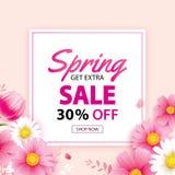 Frühlingsverkaufsfahne mit blühender Blumenhintergrundschablone Entwurf für die Werbung, Flieger, Plakate, Broschüre, Einladung, vektor abbildung