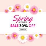 Frühlingsverkaufsfahne mit blühender Blumenhintergrundschablone Entwurf für die Werbung, Flieger, Plakate, Broschüre, Einladung, lizenzfreie abbildung