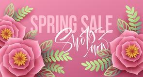 Frühlingsverkaufsfahne mit Papierblumen und Kalligraphiebeschriftung Auch im corel abgehobenen Betrag Lizenzfreies Stockbild