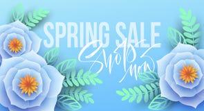 Frühlingsverkaufsfahne mit Papierblumen und Kalligraphiebeschriftung Auch im corel abgehobenen Betrag Stockfotos