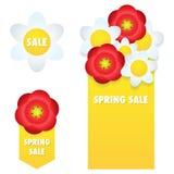 Frühlingsverkaufsfahnen und -aufkleber lizenzfreie abbildung