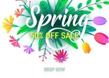Frühlingsverkaufsfahnen-Vektorhintergrund mit flachen minimalen Blumen, Blätter, Zeichen beschriftend Blumenfrühjahrgrafikdesign lizenzfreie abbildung