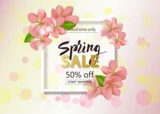 Frühlingsverkaufshintergrund mit Blumen Jahreszeitrabatt-Fahnendesign mit den Kirschblüten und -blumenblättern Lizenzfreie Stockfotografie